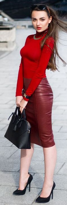 Red sweater maroon leather skirt