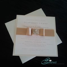 Cream Wedding Invitation - beautiful modern crystal brooch SAMPLE - 5x5 flat card. $6.95, via Etsy.
