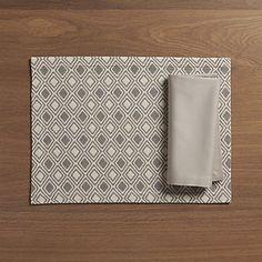 Zahara Grey Placemat and Fete Dove Napkin