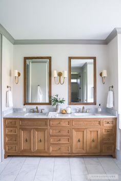 Woodworking Plans Vanity 2018 Parade of Homes Waco Texas.Woodworking Plans Vanity 2018 Parade of Homes Waco Texas Master Bathroom Vanity, Double Sink Bathroom, Modern Master Bathroom, Master Bathrooms, Bathroom Mirrors, Bathroom Cabinets, Double Sink Vanity, Boho Bathroom, Bathroom Wallpaper