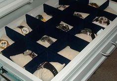 watch organization Tie Storage, Watch Storage, Closet Storage, Storage Ideas, Vanity Organization, Makeup Storage, Master Closet, Walk In Closet, Watch Organizer