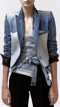 46 new Ideas for patchwork jacket denim shops Fashion Mode, Denim Fashion, Look Fashion, Fashion Outfits, Denim Shop, Diy Vetement, Cooler Look, Denim Ideas, Denim Patchwork