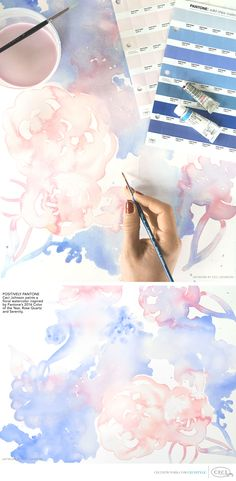 Creative director paints a delicate floral watercolor inspired by Pantone 2016 & Coral Pantone, Pantone 2016, Pantone Color, Color Of Life, Color Of The Year, Blue Photography, Wedding Photography, Art Blue, Rose Quartz Serenity