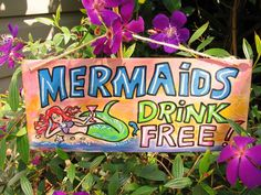 """Sign """"Mermaids Drink Free""""  for your Tiki Bar. on Etsy, $25.00"""
