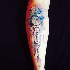 colorful dream catcher tattoo-12