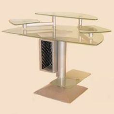 Perfect for the office or home setting with a modern look,this Frosted Glass Top Desk with Steel Base features clean design lines and a practical design. Matching chairs can be found here.