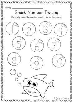 Pre K Worksheets, Kindergarten Worksheets, Toddler Worksheets, Shark Activities, Toddler Learning Activities, Numbers Preschool, Preschool Activities, Prewriting Skills, Number Formation