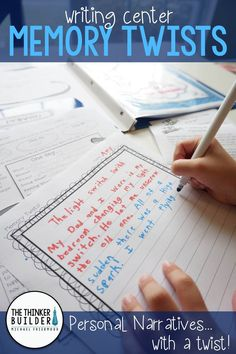 """Memory Twists is a FREE writing center in which students begin writing a personal narrative and then """"twist"""" the memory into fiction! Differentiated for grades 2-5. Part of the """"Keep It Fresh! Writing Centers"""" line of writing center resources."""