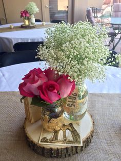 Mason jar centerpieces graduation party
