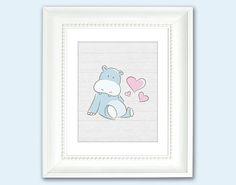 Baby Hippo with Hearts Nursery Art Print  Kids by HappyHippoArts, $21.00 #Hippo #NurseryArt
