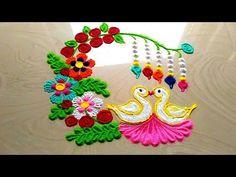 Very innovative and BEAUTIFUL rangoli design || easy and simple lovebirds rangoli designs - YouTube Easy Rangoli Designs Diwali, Rangoli Designs Latest, Rangoli Designs Flower, Free Hand Rangoli Design, Small Rangoli Design, Rangoli Patterns, Colorful Rangoli Designs, Rangoli Ideas, Rangoli Designs Images