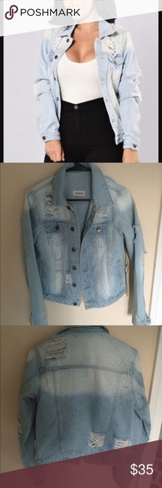 New with tags- distressed light denim jacket Brand new/ never been worn from Fashion Nova. I already have one that fits me better :) so just trying to get my money back for this one. price is negotiable! Fashion Nova Jackets & Coats Jean Jackets