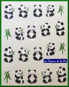 STICKERS ONGLES WATER DECAL (x20) - Nail art - Pandas & bambous - Noir & vert