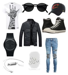 """""""Black edgy"""" by natalie1027 on Polyvore featuring Versace, AMIRI, Converse, Swatch, DesignB London, '47 Brand, men's fashion and menswear"""