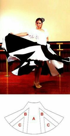 Flamenco dance skirt with double gores Costume Flamenco, Belly Dance Costumes, Gala Dresses, Dance Dresses, Dress Paterns, Costume Patterns, Ballroom Dress, Diy Clothing, Dance Wear