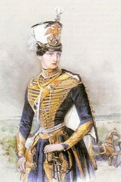 Olga Nikolaevna in uniform of 3rd Hussar Regiment at Elisavetgrad     Here Olga Nikolaevna is portrayed a Hussar, but with a narrow waist and a nice figure. The Tsars were almost always portrayed in some kind of military dress.    Keywords:  Olga Nikolaevna, Grand Princess, Queen, Romanov family, Württemberg family, Russian, shallow vee waistline, close skirt, theatrical dress