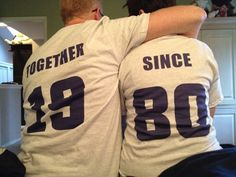 I need to remember this to order for the next big anniversary in the family. Couples TOGETHER SINCE custom tshirt set of 2 by SilkscreenExpress, $40.00