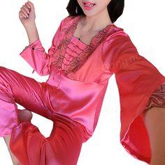 [US$18.89] Soft Silk Lace-trim Long Sleeve Pajamas Suit #soft #silk #lacetrim #long #sleeve #pajamas #suit