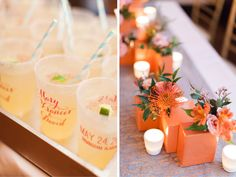 Mary Frances & David: Colorful Summer Wedding #margaritas #stripedstraws