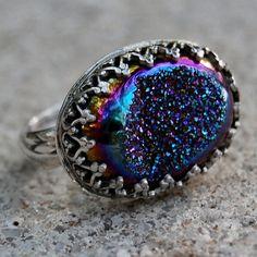 Size 55  Cobalt Titanium Druzy Quartz Hand by lovestrucksoul, $74.00