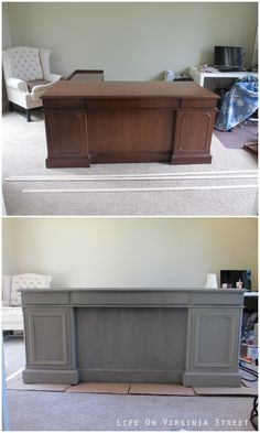 See how this blogger turns an old mahogany desk from the 90's into a stunning, current piece with this easy office desk upgrade!