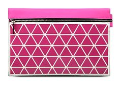 Victoria Beckham Pink Leather Geometric Design Large Clutch Bag, pic1