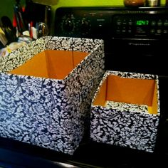 repurpose boxes for pantry storage   Repurposed boxes. Used contact paper. Great in kids room or pantry