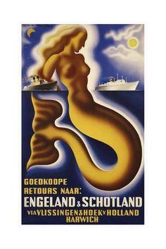 ♥Goedkoope retours naar Engeland Schotland via Vlissingen Hoek, Harwich 1945 / The date doesn't make sense, but it's a gorgeous poster. Vintage Advertisements, Vintage Ads, Vintage Type, Vintage Designs, Most Famous Artists, Original Vintage, Vintage Mermaid, Poster Ads, England And Scotland
