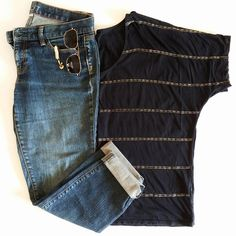#ootd Archive - October 31 - Navy Striped Tee from Calvin Klein with Modern Slim Jeans from Loft