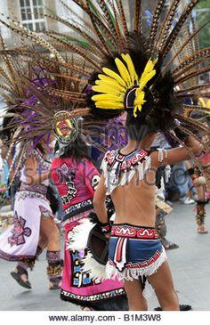 Mexican Dancers in Aztec Costume, Zocalo Square, Plaza de la Constitucion, Mexico City, Mexico - Stock Photo
