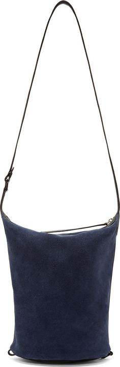 Kara: Navy Suede Small Dry Bag | SSENSE