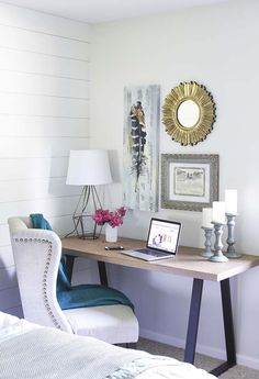 You won't mind getting work done with a home office like one of these. See these 20 inspiring photos for the best decorating and office design ideas for your home office, office furniture, home office ideas Bedroom Office Combo, Office Nook, Bedroom Desk, Home Office Space, Home Office Desks, Bedroom Small, Master Bedrooms, Diy Bedroom, Computer Desk In Bedroom