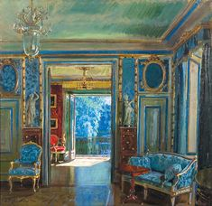 ✨ Stanisław Żukowski, Polish (1875 - 1944) - WNĘTRZE PAŁACU W ŁAZIENKACH, OKOŁO 1924, olej, płótno, 76.7 x 79 cm ::: Interior painting of the Łazienki Palace Warsaw, 'Palace on the Water' : Part of the former bedroom and en suite dressing room Stanisława Augusta on the first floor of the Palace, oil/canvas