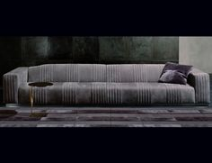 Nella Vetrina Rugiano Cadillac Upholstered Grey Smooth Leather Sofa