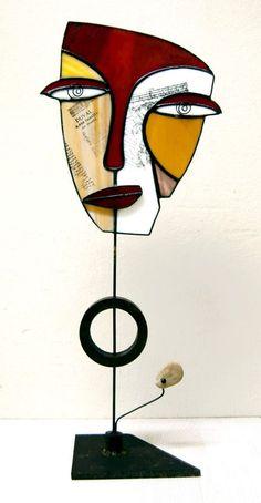 """""""Maisha"""" by Art en Vidre """"Ingrid Solé"""". Sculpture, Subject: Abstract and non-fi. Broken Glass Art, Sea Glass Art, Stained Glass Art, Shattered Glass, Glass Art Design, Glass Art Pictures, Abstract Face Art, Masks Art, Sculpture Art"""