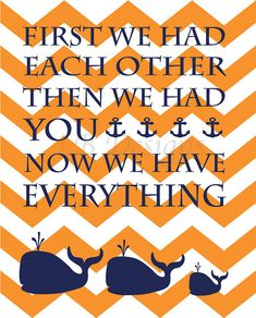 Navy Blue and Orange Chevron Whale and Anchor Nursery by LJBrodock, $8.00