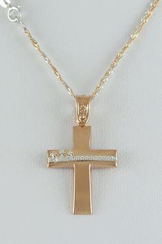 Βαπτιστικός σταυρός σε ροζ χρυσό με αλυσίδα, 14 καράτια, κορίτσι, κωδικός GS223 Arrow Necklace, Jewelry, Jewels, Jewellery Making, Jewerly, Jewelery, Jewlery, Fine Jewelry, Accessories