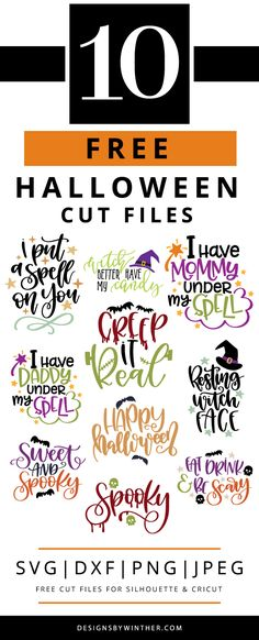 completely free SVG files for Halloween. Want to make some awesome Halloween DIY craft projects this Halloween? You cannot miss out on these FREE svg files that work for both Silhouette and Cricut. Use these craft cutting files for things such as m Halloween Tags, Happy Halloween Video, Diy Halloween Party, Halloween Kunst, Happy Halloween Quotes, Happy Halloween Pictures, Feliz Halloween, Dollar Store Halloween, Halloween Projects