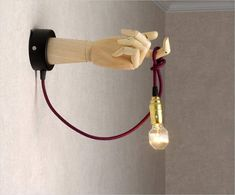 """Sconce """"Wooden transformer hand"""" with a textile cable and standard lamp holder. You can turn it palm up or down, and bend it fingers in various ways. Designed for energy-saving bulb or for LED, no Loft Lighting, Pendant Lighting, Suspension Diy Luminaire, Diy Plaster, Nightstand Lamp, Steampunk Lamp, Wooden Hand, Wooden Walls, Wall Sconces"""