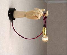 Sconce Wooden lamp Transformer human hand. Human parts art