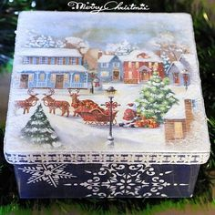 МК Наташи Фохтиной Christmas Decoupage, Christmas Crafts, Christmas Decorations, Xmas, Tole Painting, Painting On Wood, Decoupage Box, Winter Painting, Pintura Country