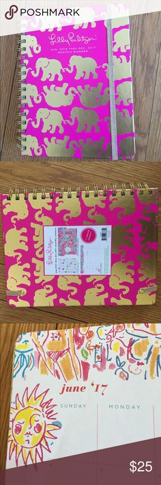 Lilly monthly planner, NWT Cute hardcover planner with calendar, note and address sections.  Never used.  Aug 2016 - Dec 2017. Lilly Pulitzer Accessories