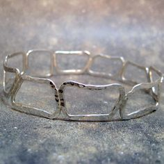 Sterling Silver Abstract Shapes Bangle Bracelet - Plus Size - Handmade Silver Artisan Jewelry - Designed by A Second Time.