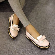 Womens Girls Flat Oxfords Vintage Sweet Boat Shoes pump Bowktie Brogue Shoes