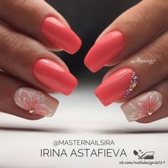 and Beautiful Nail Art Designs Trendy Nail Art, Cool Nail Art, Acrylic Nail Designs, Nail Art Designs, Coral Nail Designs, Nail Manicure, Gel Nails, Acrylic Nails, Coral Nails With Design