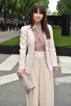 How to wear culottes - the best advice comes from Miroslava Duma - with a blazer and feminine top.