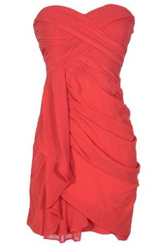 Dreaming of You Chiffon Drape Party Dress in Red by Minuet  www.lilyboutique.com
