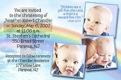 Rainbow Cross Photo Christening Invitations personalized with 3 photos and message. Can be made into a photo baptism invitation or thank you.    http://www.photo-party-favors.com