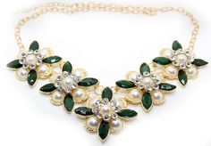 White and Green Pearl flower Statement Necklace Made of stunning sparkly glass and acrylic rhinesto