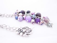 Purple Gemstone Long Cluster Dangle Butterfly Necklace Amethyst Dragons Vein Agate Lace Agate Jade Silver Plated Chain FREE UK Shipping by AnnethDesigns on Etsy